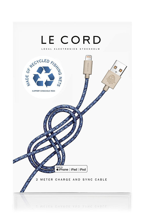 Bleu iPhone Lightning Cable · 2 Meter · Made of Recycled Fishing Nets