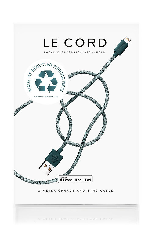 Green iPhone Lightning Cable · 2 Meter · Made of Recycled Fishing Nets