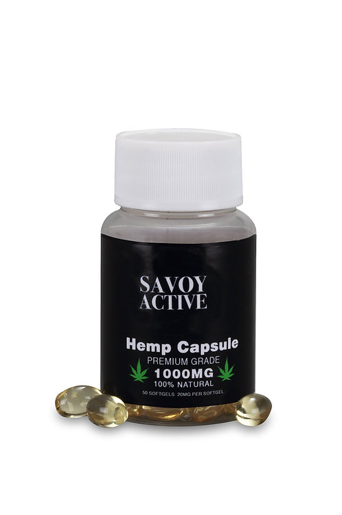 Hemp Seed Oil Capsules - Premium Grade - 100% Natural - 1000MG - 50 Softgels