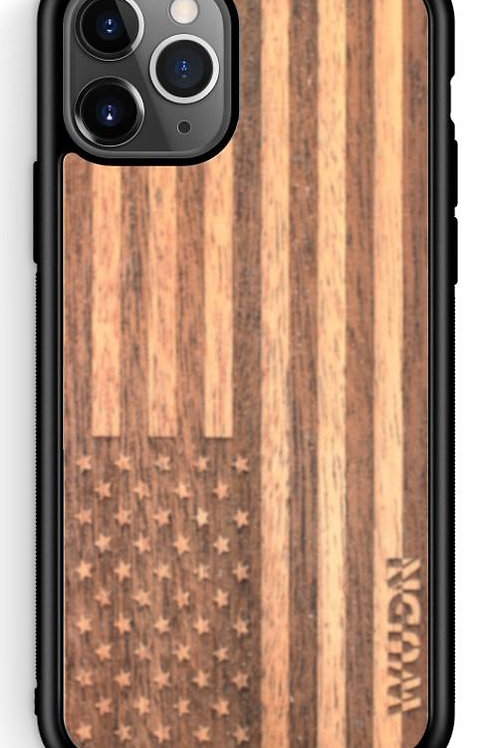 Slim Wooden Phone Case (American Flag in Mahogany)