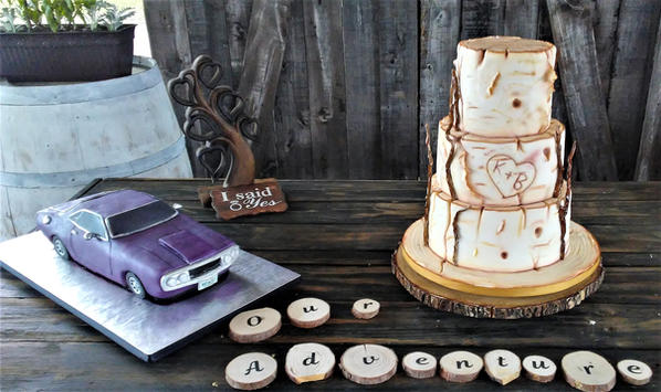 Rustic cake and grooms cake