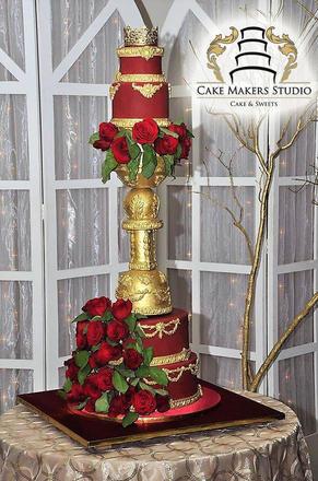 Elegant red wedding cake