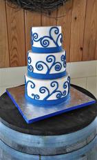 White and blue swirls