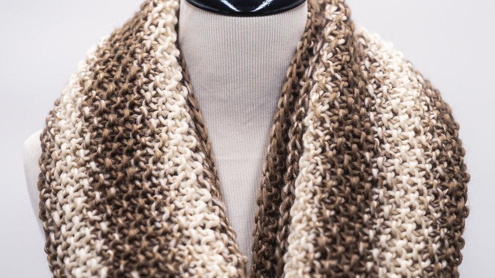 Woven Knit InfinityWomen's Scarf - Brown/Cream Stripes