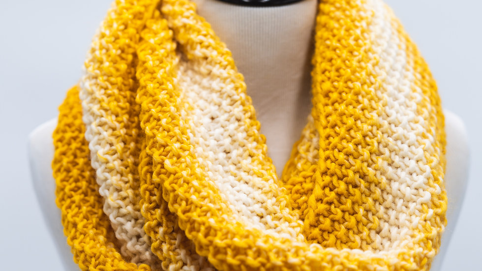 Woven Knit InfinityWomen's Scarf - Mustard & Cream Stripes