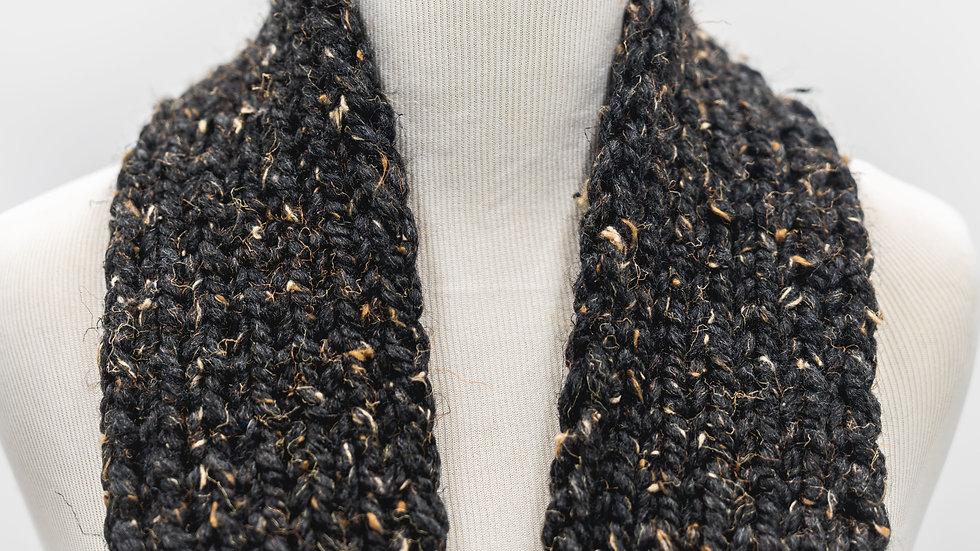 Brown Tweed Knit Ribbed Skinny Scarf