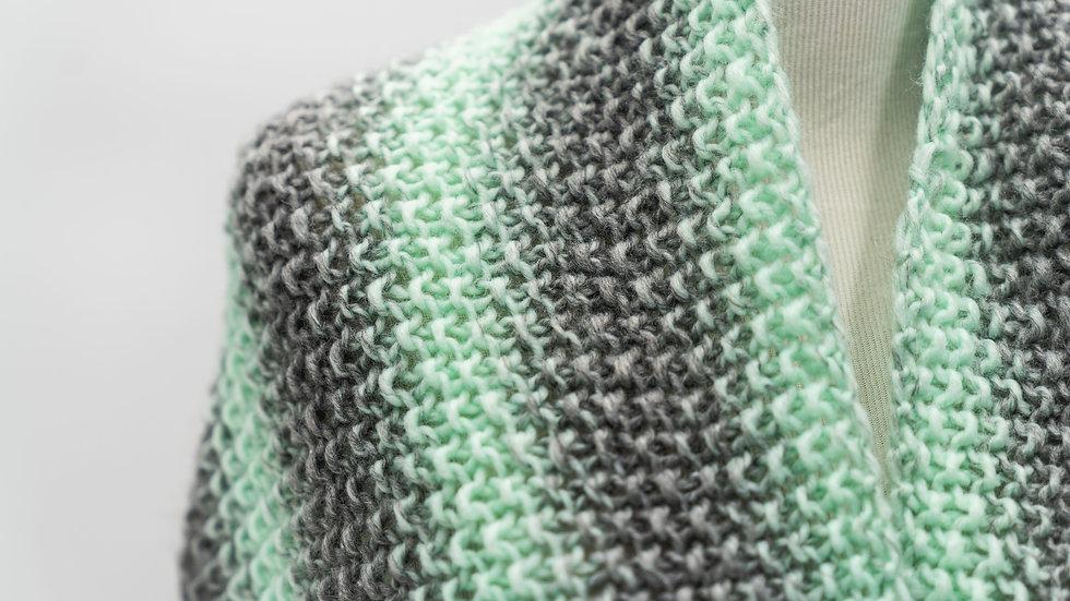 Woven Knit InfinityWomen's Scarf - Mint/Gray Stripes