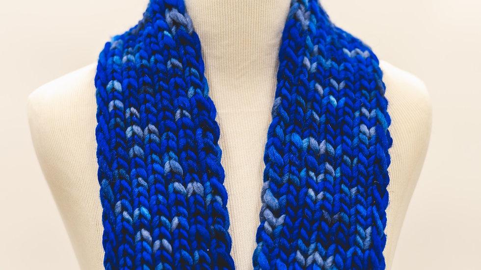 Knit Ribbed Skinny Scarf- Blue Spec
