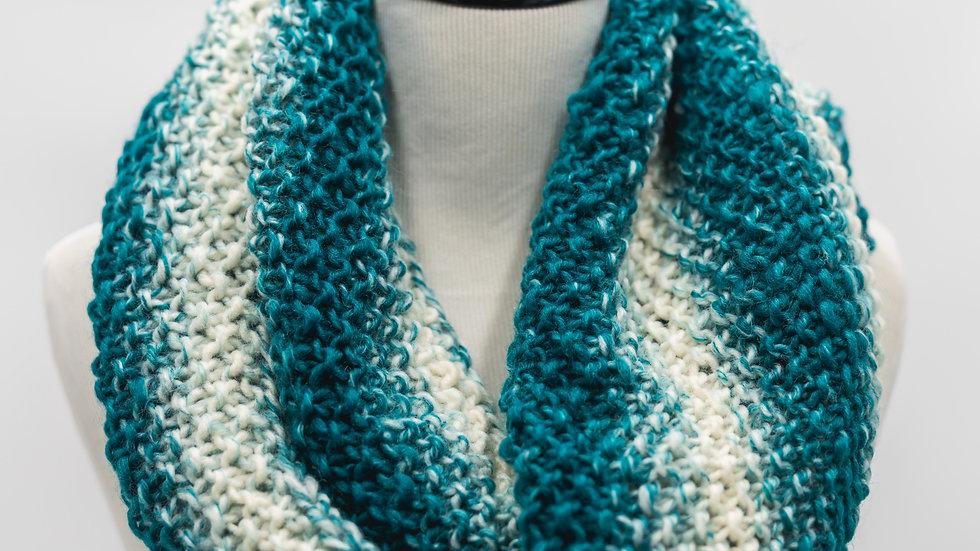Woven Knit InfinityWomen's Scarf - Teal & Cream Stripes