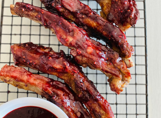 Sticky Spicy and Sweet Blackberry Maple Pork Spare Ribs