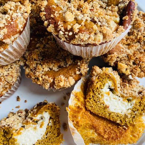 Pumpkin Cinnamon Streusel Cream Cheese Stuffed Muffins (Keto, LowCarb, GF, SugarFree)