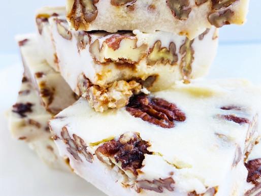 White Chocolate Caramel Pecan Fudge- Keto, LowCarb, Dairy Free