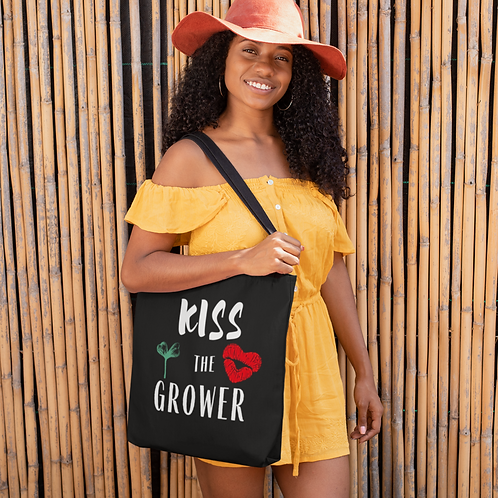 Kiss the Grower Tote Bag | Plant Lover | Gardener | Plant Lady Gift | Tote Bag