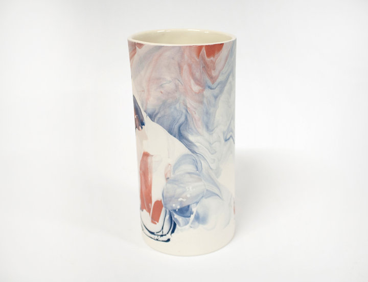 Blue and Pink Marble Vase #3
