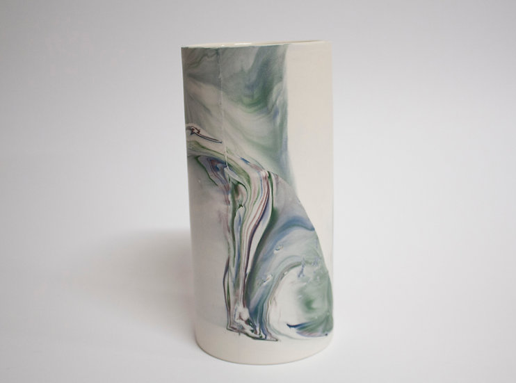 Blue, Green and Lilac Marble Cup