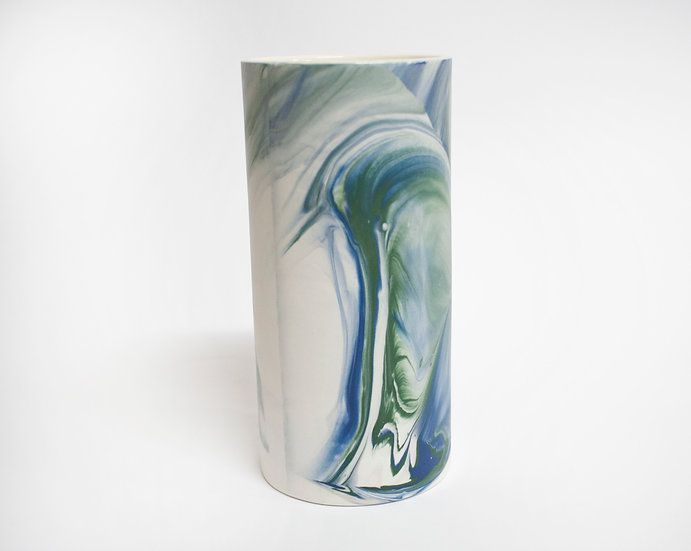 Blue and Green Marble Vase