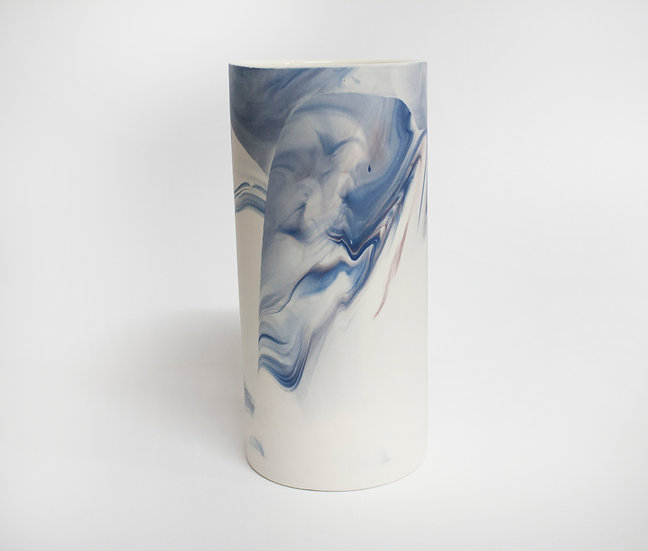Blue and Lilac Marble Vase