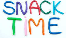 "Play-doh words in various color saying ""snack time"""