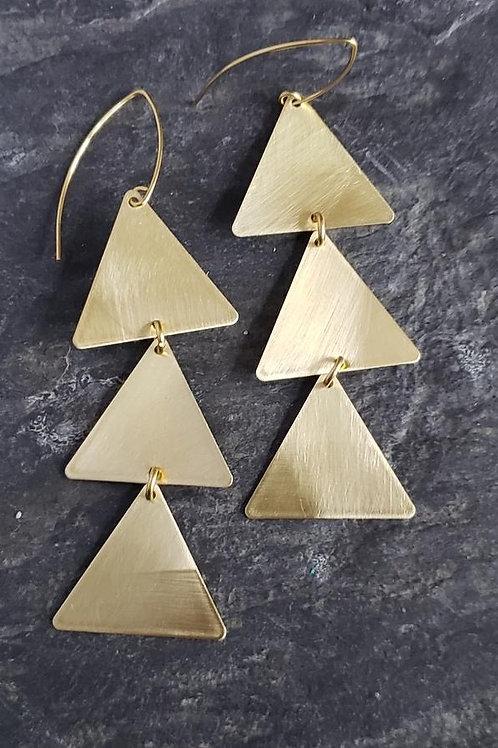 Brushed Brass Triangle Earrings