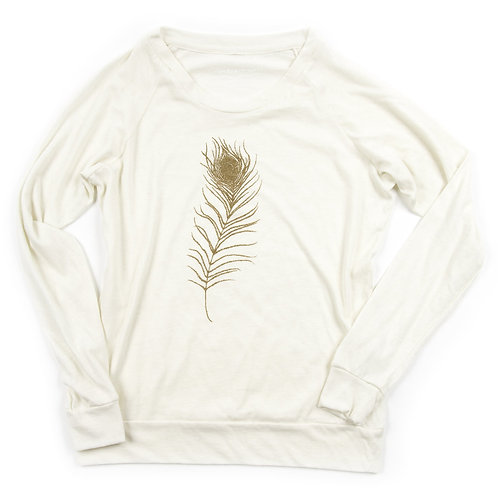 Feather Slouchy Pullover