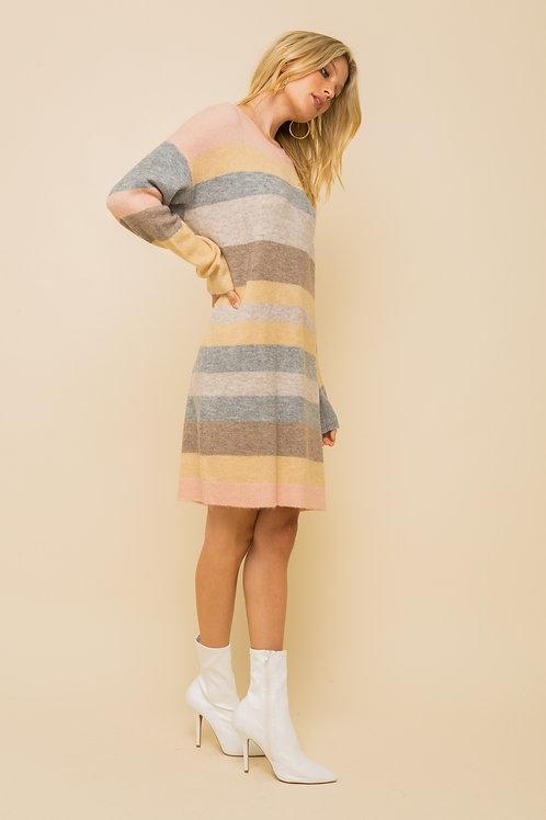 Pastel Stripe Sweater Dress