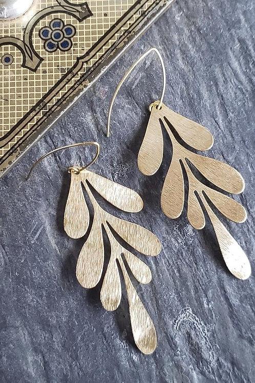 Gold Brass Leaf Earrings