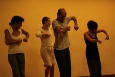 Foto cosimo Westkemper , sandbox, videoproiezioni, danza, movimento