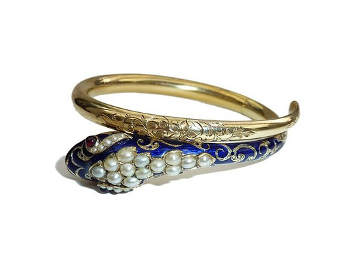 Victorian Blue Guilloched Enamel And Pearl Snake Cuff Garnet Eyes Circa 1860
