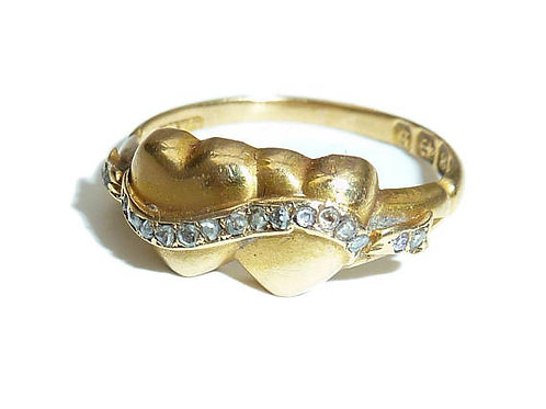 Victorian 18 Carat Twinned Heart Ring With Diamond Swag