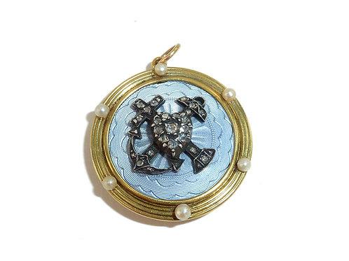 Edwardian 18 Carat Faith Hope And Charity Diamond And Enamelled Locket 1910