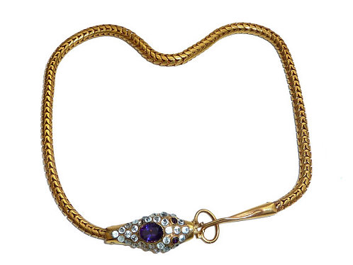 Victorian Pinchbeck, Amethyst And Paste Snake Necklace Circa 1890