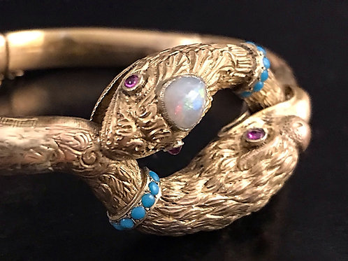 Rare 18 Carat Gold Victorian Snake And Eagle Bracelet