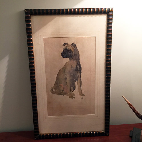 1930's Watercolour Of A Pug- Framed And Glazed