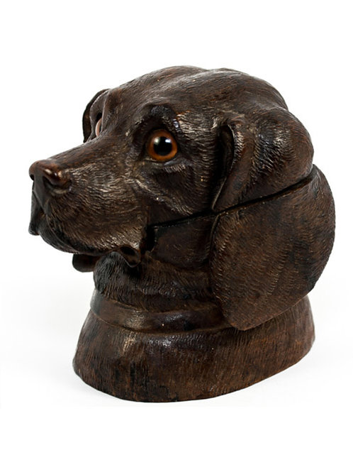 Victorian Black Forest Labrador Inkwell