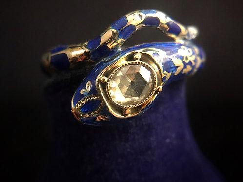 Russian Diamond And Enamel 18 Carat Gold Snake Ring