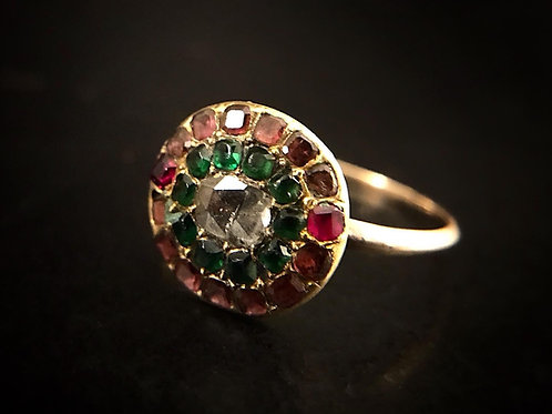 Georgian Garnet Emerald And Diamond Ring