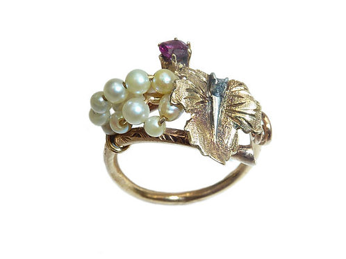 Victorian 18 Carat Victorian Vine Ring With Pearls, Ruby and Tiny Diamond