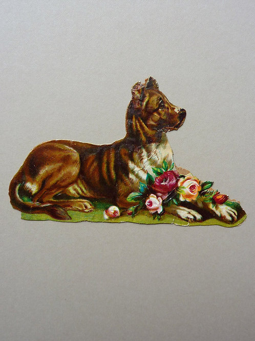 Die-cut Dog with Flowers