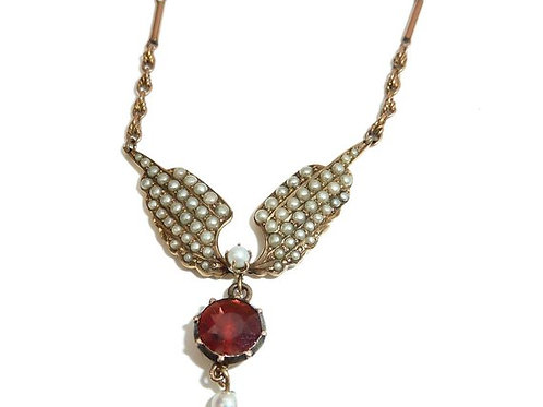 Georgian Flat Cut Garnet And Seed Pearl Winged Pendant Necklace In 9 & 15Ct Gold