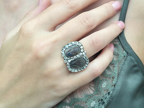 Early Victorian Period Double Paste Halo With Dendritic Agate Ring