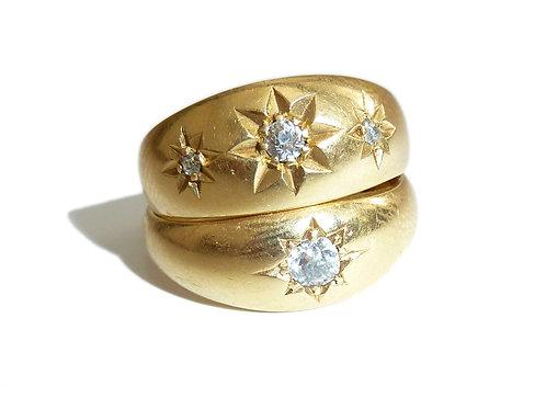 Early Edwardian 18 Carat Star Set Three Stone Diamond Ring