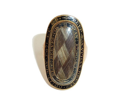 Georgian Gold & Enamel Mourning Ring, Plaited Hair To The Centre, Inscriptions