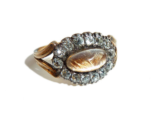 Georgian Mourning Ring With Hair Under Rock Crystal And An Old Cut Diamond Surro