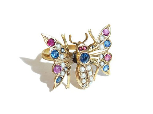 Victorian Gold, Pearl, Emerald And Ruby Butterfly Ring