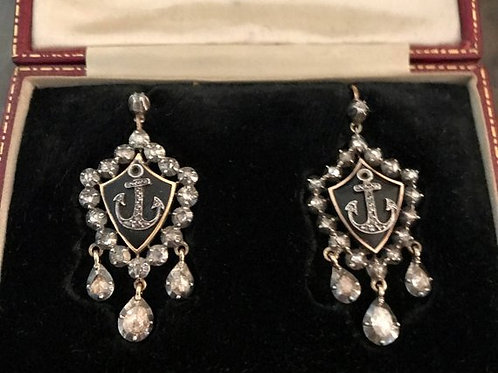 Antique Victorian Anchor Earrings Set In Shield Surrounded By Rose Cut Diamonds