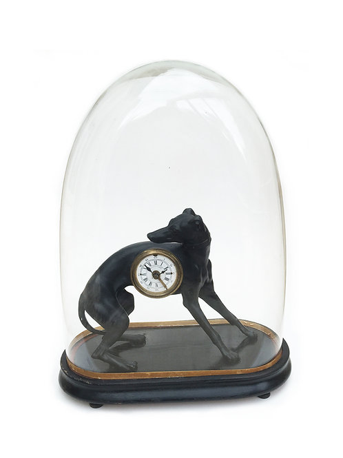 Antique French Sighthound Clock In A Glass Dome