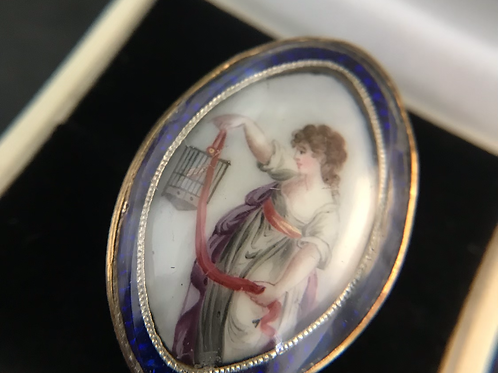 Late 18th Century French Ring Lady With A Birdcage