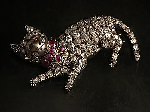 Victorian Old Cut Diamond And Ruby Cat Brooch