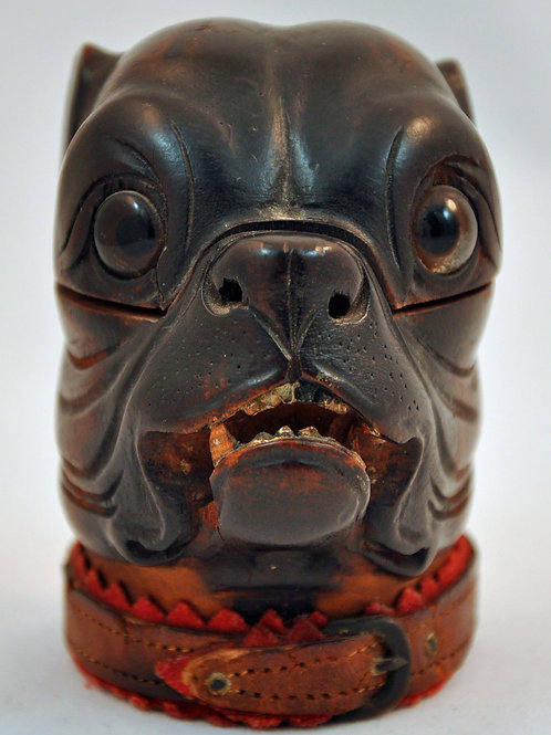 Antique Bulldog Inkwell