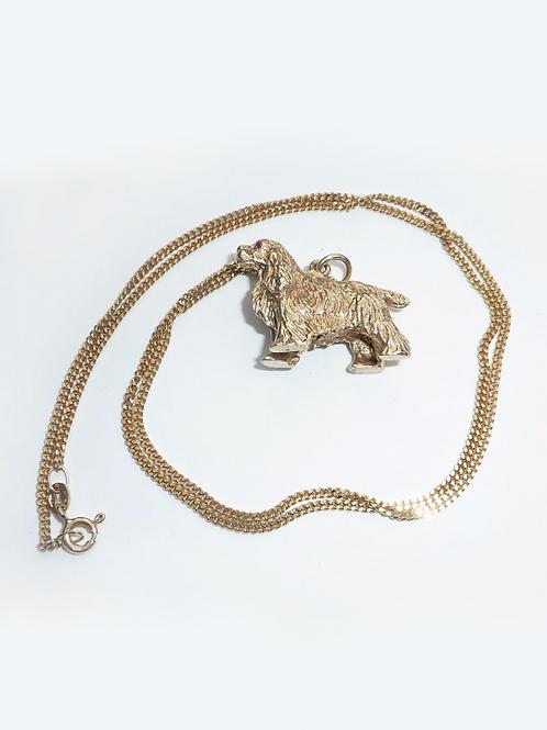 Vintage 9 Carat Gold Spaniel On 9 Carat Gold Chain